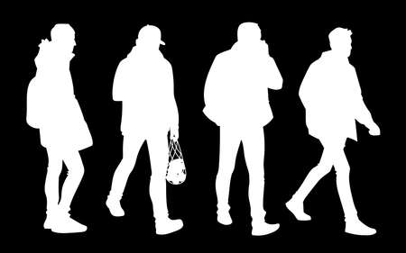 Set of young and adult men standing and walking. Monochrome vector illustration of silhouettes of men in different poses. Stencil. White silhouettes isolated on black background. 向量圖像