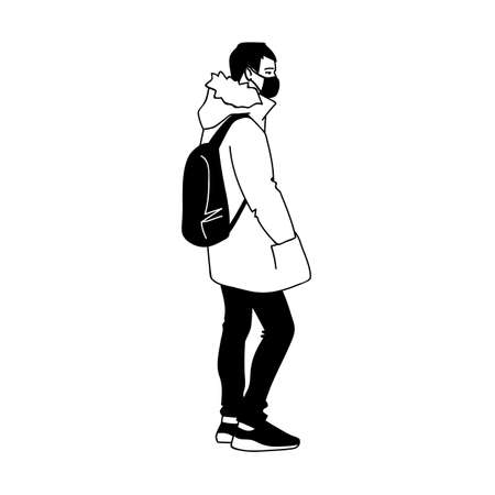 Man in medical mask protects breath from virus and air pollution. Side view. Monochrome vector illustration in simple linear style isolated on white background. Masked young man with backpack stands. 向量圖像