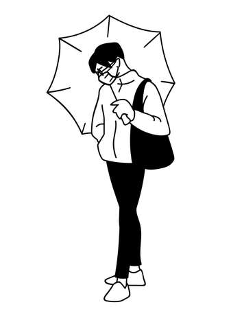 Young man in medical mask, streetwear and glasses in simple sketch style. Monochrome vector illustration isolated on white background. Breath protection. Masked man stands holding umbrella. Pandemic.