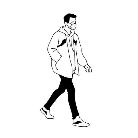 Man in medical mask jacket, jeans and sneakers walking. Monochrome vector illustration in simple sketch style isolated on white background. Masked young man taking a walk. Side view. Pandemic concept.