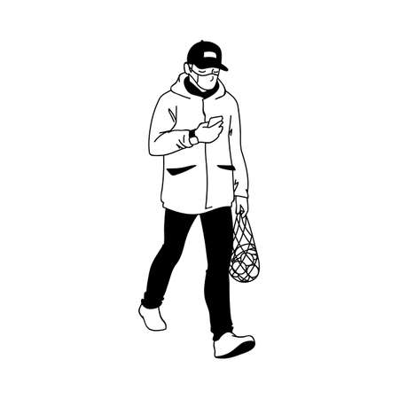 Man returns from the supermarket with a package of fruits. Monochrome vector illustration in simple sketch style isolated on white background. Adult man in medical mask buys fruits while quarantine. 向量圖像