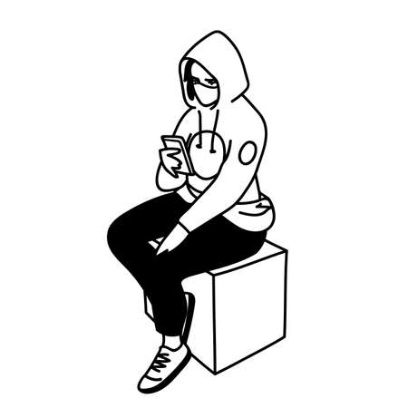 Masked student girl. Vector illustration in linear style isolated on white background. Young woman in medical mask is sitting on cube, looking for information about viruses on the Internet. 向量圖像