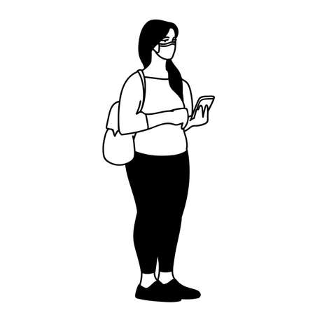 Young woman in medical mask standing with a phone. Monochrome vector illustration in simple sketch style on white background. Masked woman searches for news about Covid-19 on the Internet in her phone 向量圖像