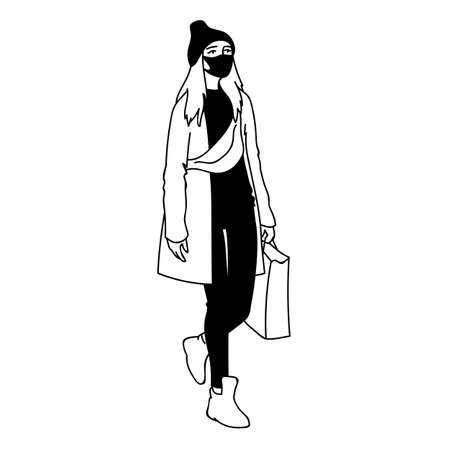 Modern woman in medical mask does a shopping while quarantine. Vector illustration in simple sketch style. Masked girl with long hair in beanie hat, cloak and sneakers takes a walk. Pandemic concept.