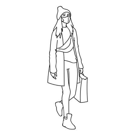 Masked girl with long hair in beanie hat, cloak and sneakers takes a walk. Vector illustration in simple linear style. Modern woman in medical mask does a shopping while quarantine. Pandemic concept. 向量圖像