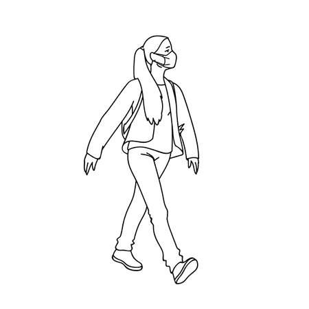 Masked girl takes a walk. Side view. Monochrome vector illustration in simple linear style isolated on white background. Pandemic concept. Young woman in medical mask walking while quarantine.
