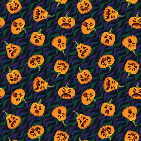 Pumpkin Halloween pattern. Vector illustration of pumpkin heads in different form with various emotions isolated on wavy festive background. All Hallows Evening. Holiday pattern vector.