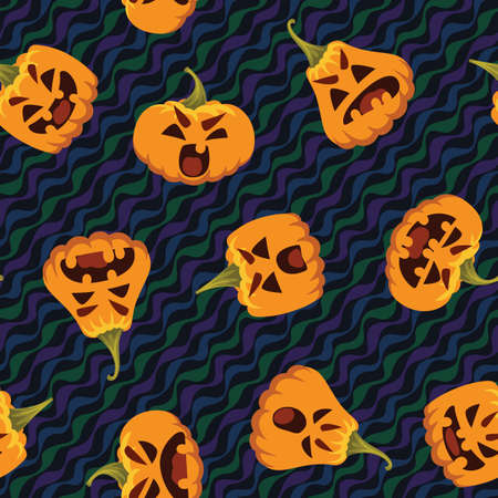 Funny Halloween pattern. Vector illustration of funny pumpkin heads in different form with various emotions isolated on wavy festive background. Seamless holiday pattern. All Hallows Evening.