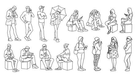 Set of young and adult men and women standing, sitting. Monochrome vector illustration of people in different poses in simple line art style. Hand drawn sketch. Black lines on white background.
