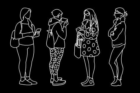 Women standing in different poses. Sketch. Vector illustration of various girls with phone, bag, backpack. White lines isolated on black background. Simple line art style. Monochrome minimalism.