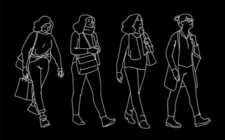 Set of women taking a walk. Concept. Monochrome vector illustration of women of different ages walking in simple line art style. White lines isolated on black background. Hand drawn sketch. Çizim