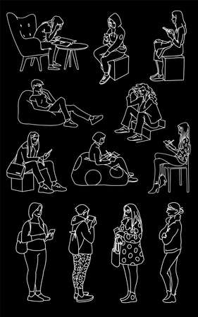 Set of women in different poses. Monochrome vector illustration of women standing and sitting in simple line art style. White lines isolated on black background. Hand drawn sketch.