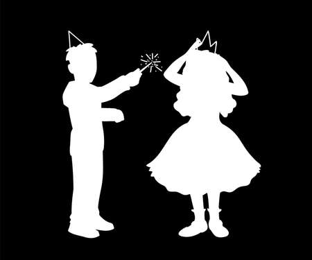 Boy in festive hat holds magic wand in his hand and girl in dress corrects crown on her head. Monochrome vector illustration of silhouettes of boy and girl plaing together. White silhouettes on black.