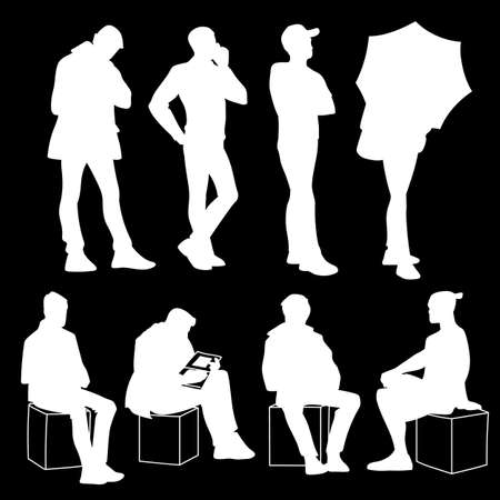 Set of young and adult men standing and sitting. Monochrome vector illustration of silhouettes of men in different poses. Stencil. White silhouettes isolated on black background. Front view.