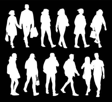Set of young and adult men and women standing and walking. Monochrome vector illustration of silhouettes of people in different poses. Stencil. White silhouettes isolated on black background.