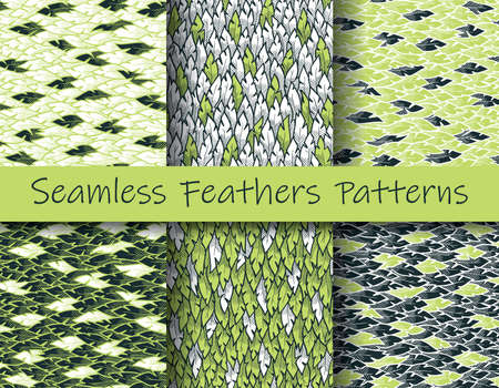 Plumage patterns set. Green, white, dark. Colorful illustration of seamless feathers patterns in modern hand drawn style. Element for your design, textile, wrapping, wallpaper, decoration.