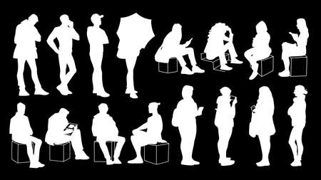 Set of young and adult men and women standing and sitting. Monochrome vector illustration of silhouettes of people in different poses. Stencil. White silhouettes isolated on black background. 向量圖像