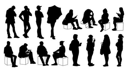 Set of young and adult men and women standing and sitting. Monochrome vector illustration of silhouettes of people in different poses. Stencil. Black silhouettes isolated on white background. Çizim