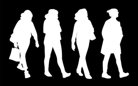 Set of women taking a walk. Concept. Monochrome vector illustration of silhouettes of women walking in different poses. White sillhouettes isolated on black background. Stencil. Çizim