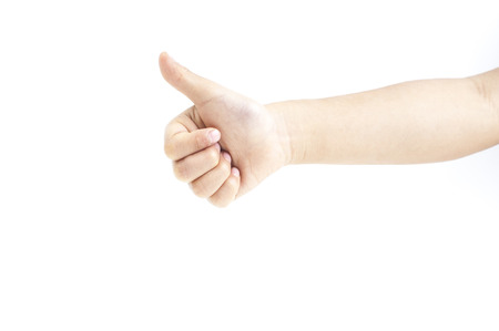 like english: Children hand showing showing like sign Stock Photo