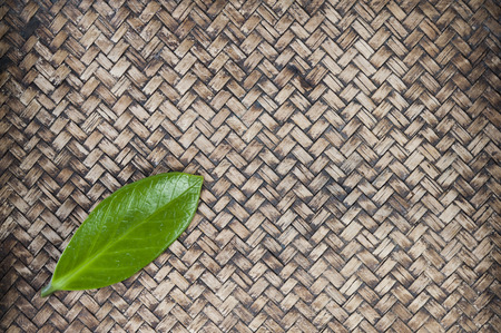 Green leaf on hand work bamboo texture photo