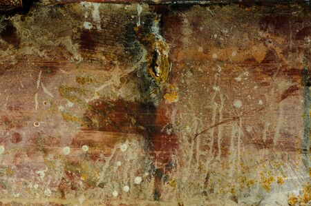 stell: Red grunge stell with rust Stock Photo