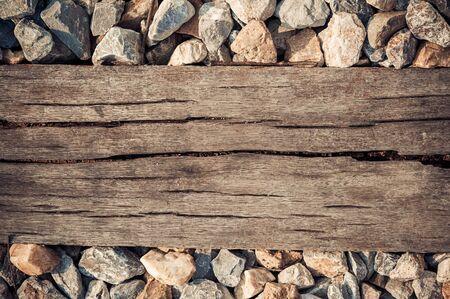 wood railways: Old grunge hard wood background from old railway Stock Photo