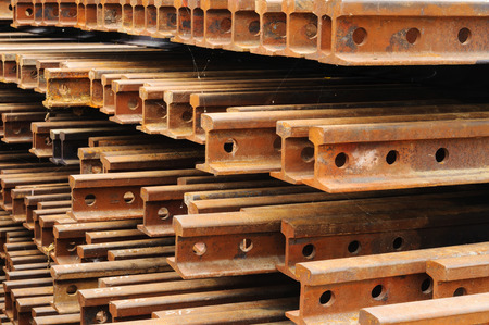 i beam: Rust iron i beam type for railway construction Stock Photo