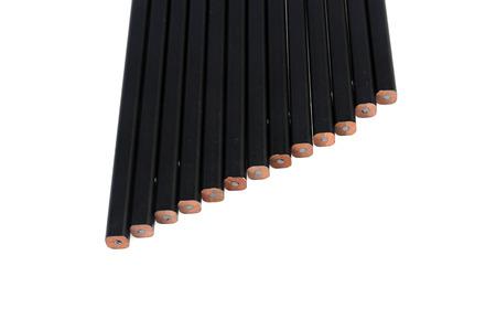 thirteen: Thirteen of black pencile on isolated white background