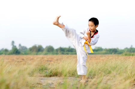 Asian boy practice taekwondo on the field