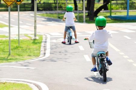 safty: Boy with helmet safty practice biking on the road