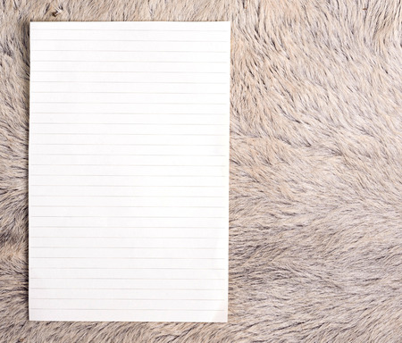 cow skin: The old page ripped off from the notebook on white fur cow skin