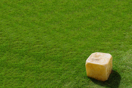 resturant: Grunge Fake rock made from plastic on grass lawn under strong sunlight hard shadow Stock Photo