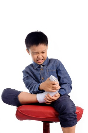 bad smell: Boy feeling unhappy with bad smell white sock