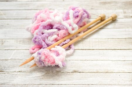 close knit: Thin focus Close up knit wool on grunge wood table background