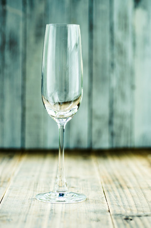 champagne glass: Champagne glass on grunge wood table