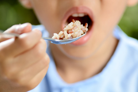 Thin focus on young Thai boy eating organic red rice with high zinc by stainless spoon on green bokeh background. Rice is a major consumption of Thai people. 版權商用圖片 - 46520246