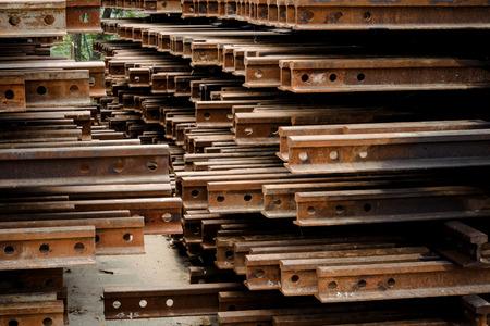 i beam: Dark tone Rust iron i beam type for railway construction Stock Photo