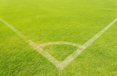 green line: The corner on green lawn of soccer field