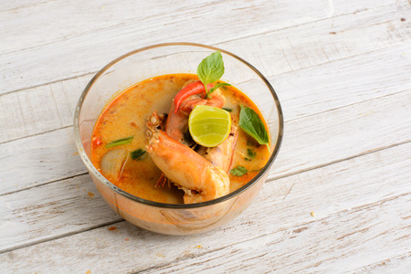 resturant: Tom Yum Goong - Famous and very delicious food that hot and spicy soup with shrimp that could easily found in most of resturant in Thailand, serve in glass bowl. Thai Cuisine
