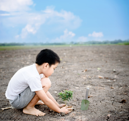Young Thai boy planting little seedling on dry and crack empty land under blue sky white cloud in summer day. Earthday concept.