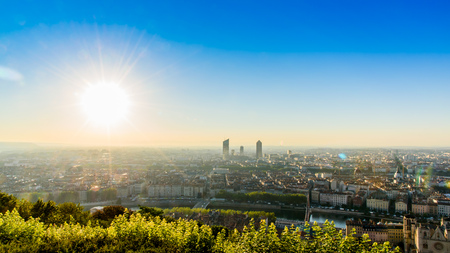LYON, FRANCE, JULY 9, 2016 : From Basilique Notre Dame de Fourvière to the city view, the mountain near Lyon. With beautiful bright sunlight and flare effect.