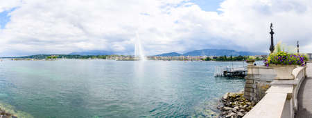 Panorama of fountain in Geneva or Leman lake with blue sky white cloud
