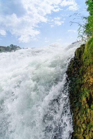 cataract falls: A beautiful Rhine Falls at Schaffhausen in Switzerland. Stock Photo