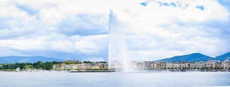 leman: Panorama of fountain in Geneva or Leman lake with blue sky white cloud
