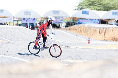 SUPHANBURI, THAILAND - NOVEMBER 27: Unidentified young children bicycle racer at BMX Thailand Open 2016 and Suphanburi Challenge on November 27, 2016 in Suphanburi, Thailand.