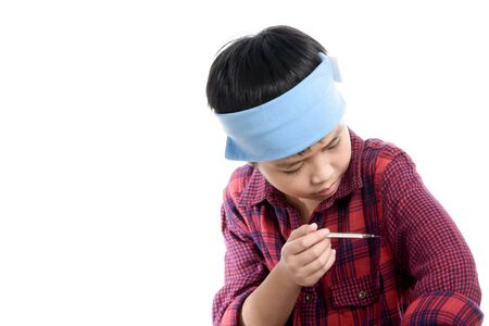termometer: Boy sick and use termometer to measure the temperature.
