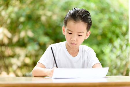 Young Asian boy write on the note book by color pencil in the garden
