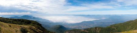 Panorama view of mountain and blue sky during winter time of Chiangmai province north of Thailand.