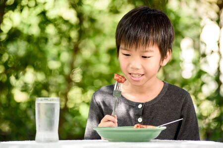 Young Asian boy eating fried chicken in a home garden